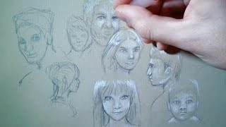 10 Faces Sketch - Drawing Traning