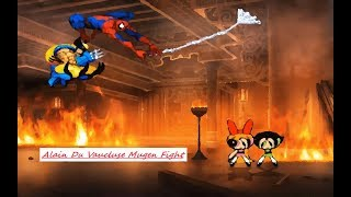 Mugen : Wolverine & Spiderman Vs Blossom Mk & Buttercup Mk (Request)