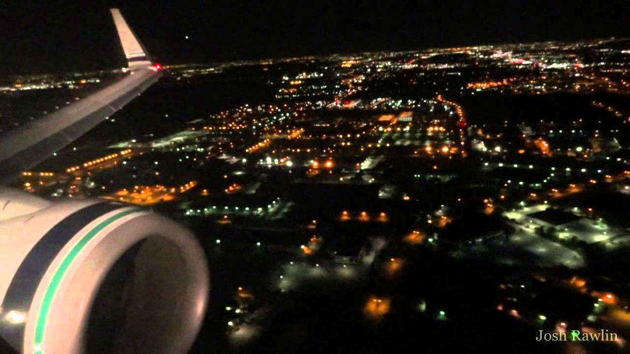 Alaska Airlines 737-800 with pulsating landing lights  Approach and landing  in DFW at night