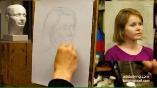 Короткий женский портрет (1). Обучение рисунку. Портрет. 80 серия