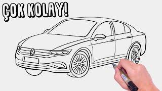 Volkswagen Passat Araba Nasıl Çizilir?  ÇOK KOLAY VW ARABA ÇİZİMİ