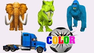 Learn Colors with Animals - Dinosaurs & Animals with Truck Car - Nursery Rhymes Learning Video