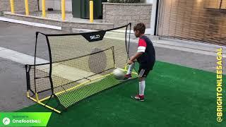 Brighton Lee Sagal- 8 year old garage soccer training. Rebounder and skills.