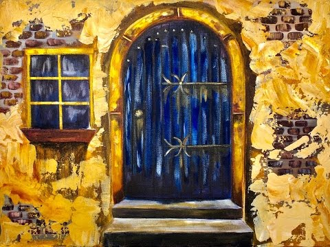 Old Blue Door  with Stucco beginners acrylic painting tutorial #bigartquest