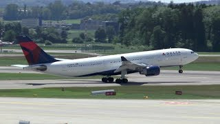 Delta Air Lines Airbus A330-200 takeoff on rwy 28 at Zurich Airport