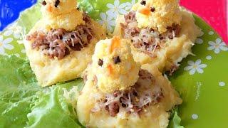 Картофельные гнёзда картофель запечённый в духовке с фаршем