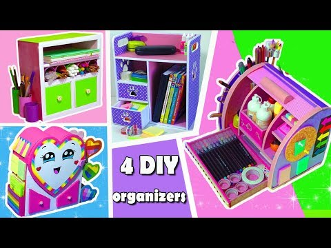 4 DIYs AMAZING ORGANIZERS from Cardboard / Back to School