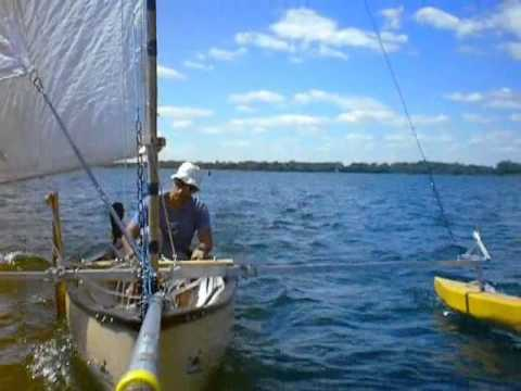 Sailing canoe with homemade rigging