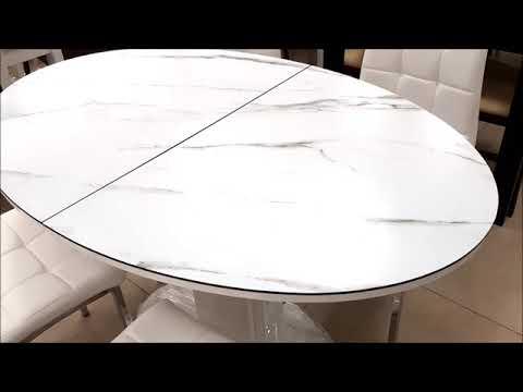 Стол овальный раскладной В 2396 White+W023