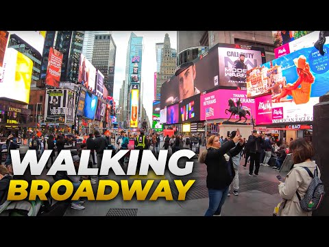⁴ᴷ⁶⁰ Walking NYC (Narrated) : Broadway from Times Square to South Ferry (November 5, 2019)