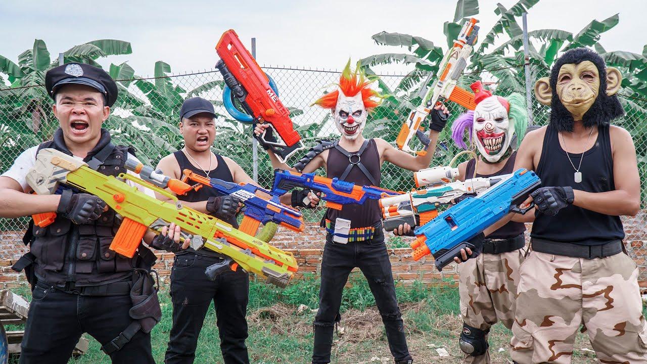 MASK Nerf War : Police Patrol Masters Alpha Nerf Guns Fight Crime Group Dr.Zero Mask Bandits