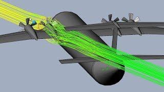 Twin Elevator Semi-T-Tail Turboprop Plane Aerodynamics - SolidWorks Flow Simulation thumbnail