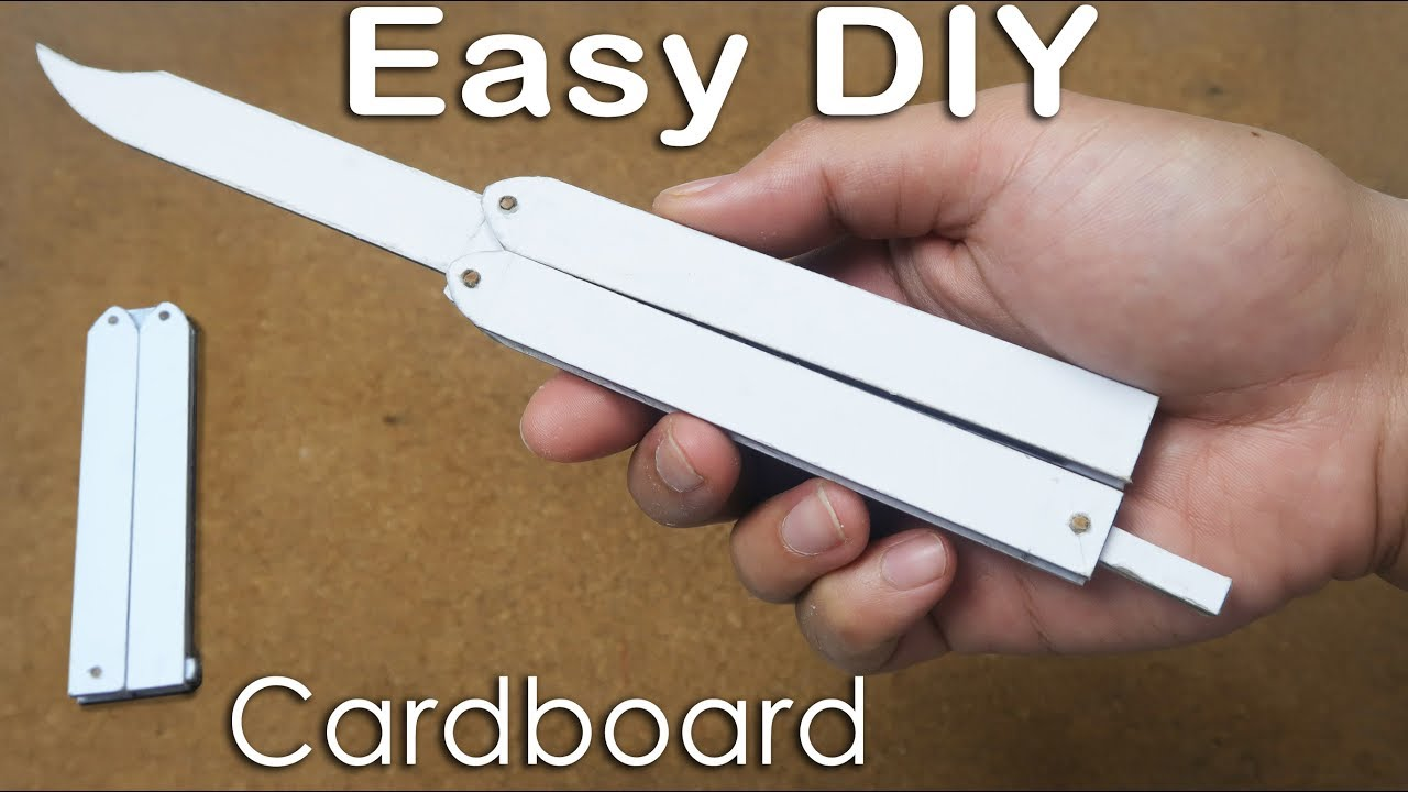 how to make butterfly knife from cardboard for practicing tricks easy tutorial youtube. Black Bedroom Furniture Sets. Home Design Ideas