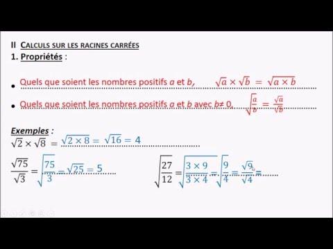 RC2 : Règles de calcul sur les racines carrées