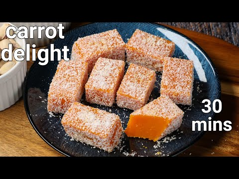 carrot delight recipe – soft & chewy carrot sweet | gajar barfi – carrot barfi | carrot sweets