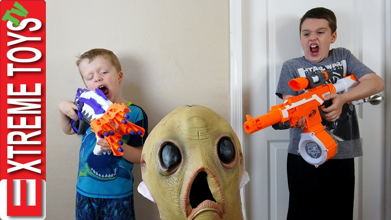 Download Alien Invasion! Creepy Alien Creature Nerf Battle! Extra Terrestrial Attacks Ethan and Cole!