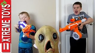 Alien Invasion! Creepy Alien Creature Nerf Battle! Extra Terrestrial Attacks Ethan and Cole!