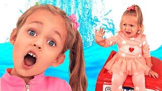مايا) و (ماشا) يلعبان دورالأرض بالماء غارقة)