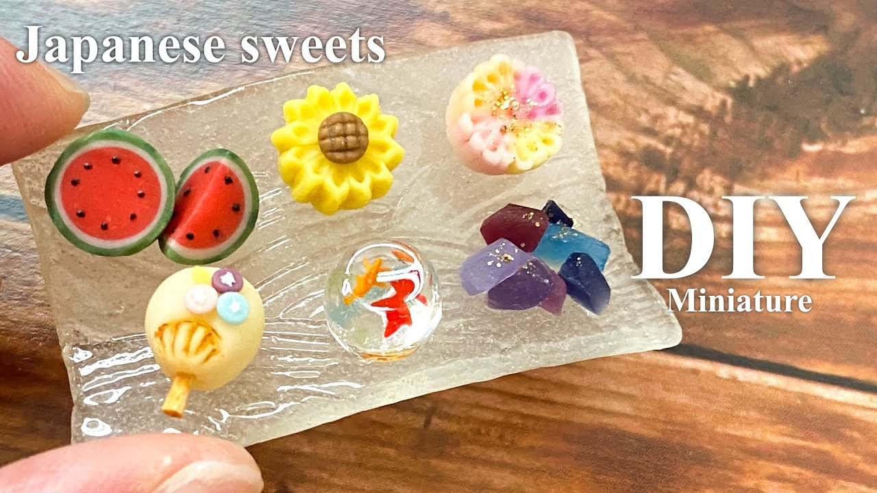 【樹脂粘土】ミニチュア 夏の和菓子 | DIY Miniature Japanese sweets WAGASHI | Air dry clay【ミニチュアフード】