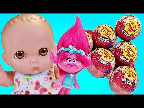 Куклы Пупсики РОЗОЧКА из Мультфильма Тролли 2016 дарит Игрушки и Открывают Сюрпризы. Зырики ТВ