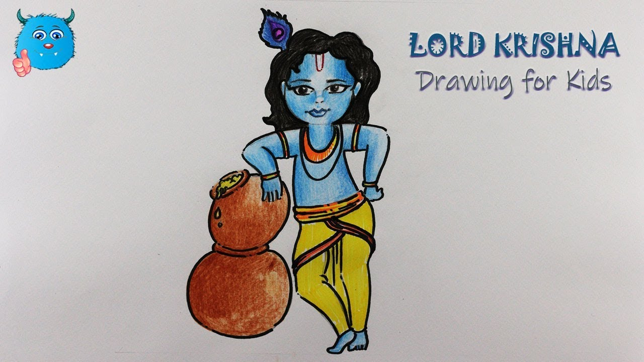 How to Draw Lord Krishna Drawing for Beginners Step by ...