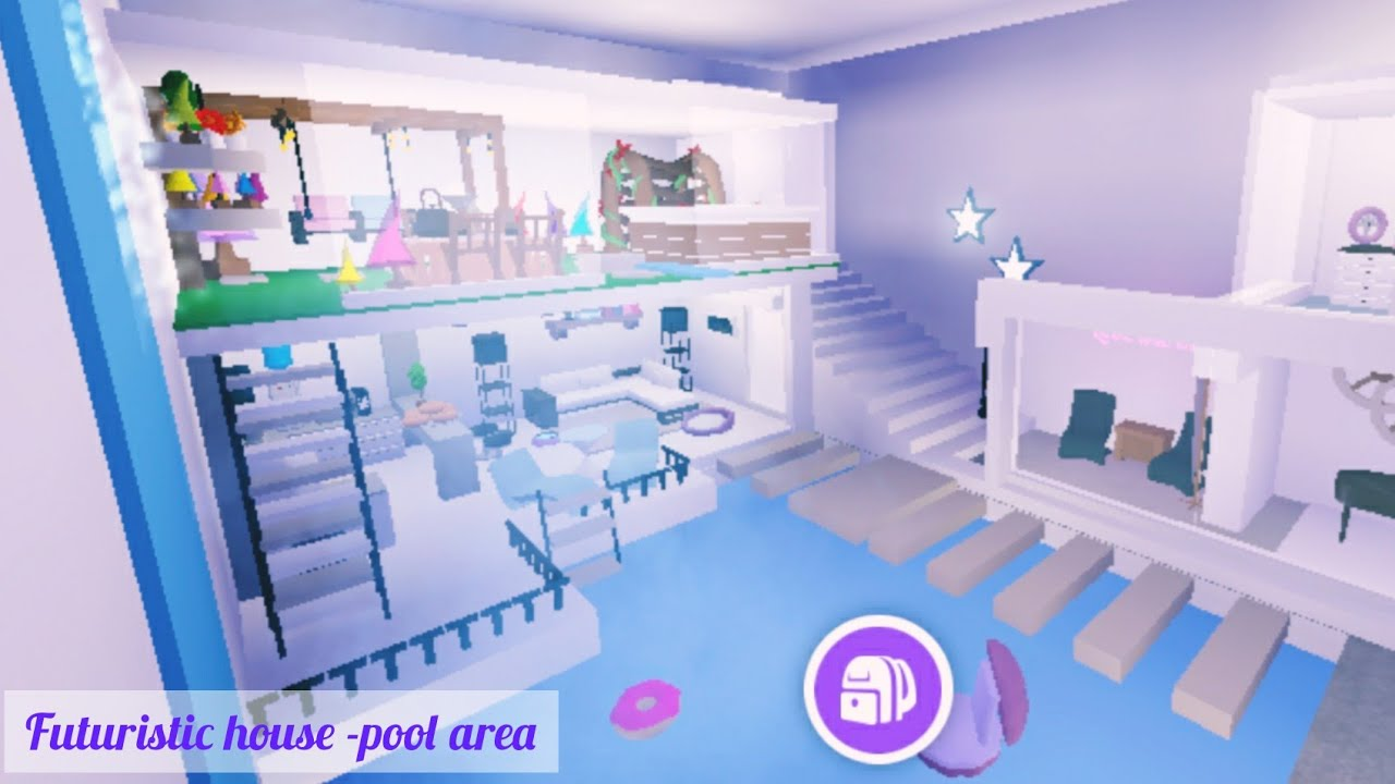 Futuristic House Pool Area Tour 1 5 Roblox Adopt Me Build Ambercrystal Youtube