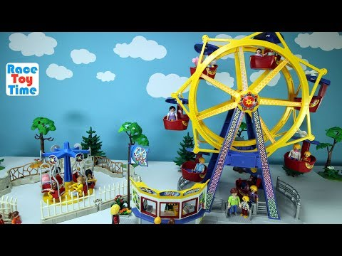 Thumbnail: Playmobil Amusement Park Fun Toys Ferris Wheel and Kids Carousel Playset Build and Play