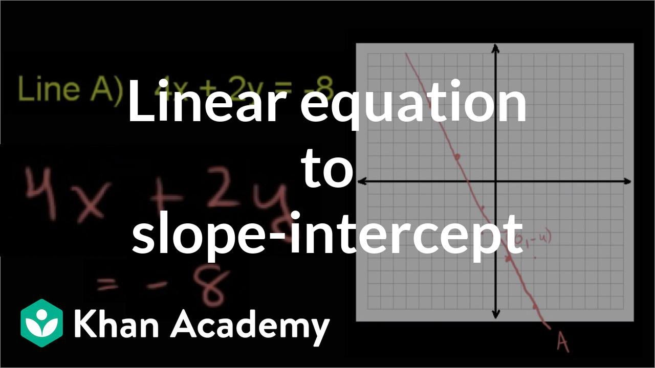 slope intercept form khan academy practice  Converting to slope-intercept form (video) | Khan Academy