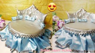 Royal Bed for Laddu Gopal ji/DIY Barbie Doll's Bed/Miniature Bed making for waste.