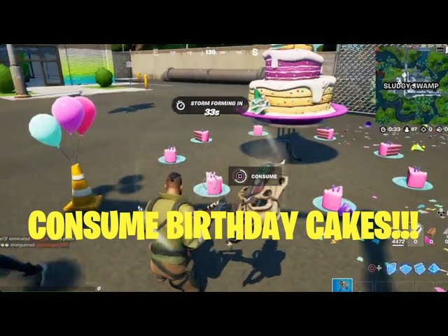 How to Consume Birthday Cakes in Different Matches (Cake Locations) - Fortnite Season 8 Quest