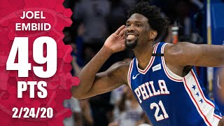Joel Embiid celebrates career-high 49 points with Milly Rock vs. Hawks | 2019-20 NBA Highlights