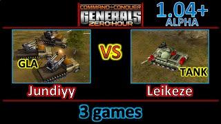 Gambar cover Zero Hour 1.04+ Alpha - Jundiyy vs Leikeze - GLA vs Tank - SW vs Inf - Demo vs USA