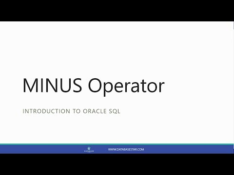 MINUS Operator (Introduction To Oracle SQL)
