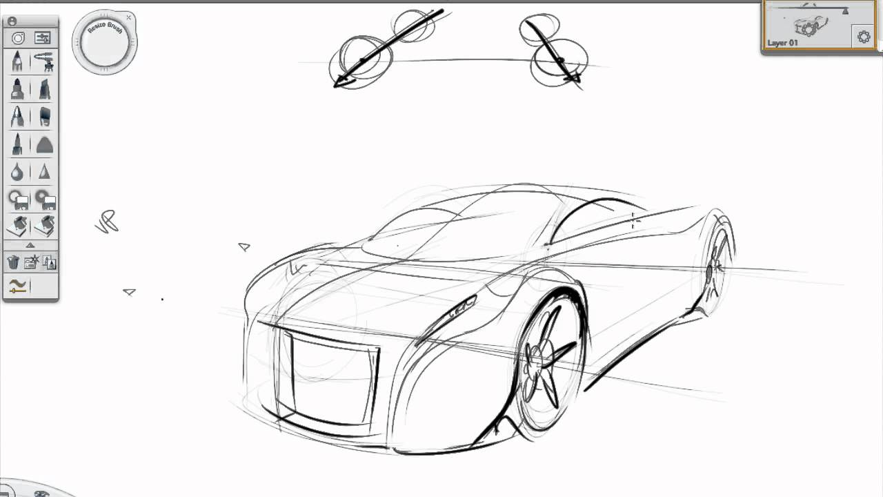Basic perspective car sketch tutorial - YouTube
