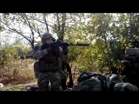 Fight Ukrainian army against Russian terrorists Lugansk Donetsk