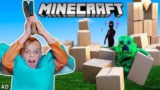 Minecraft In Real Life! Jack Mines, Builds and Battles in World of Minecraft