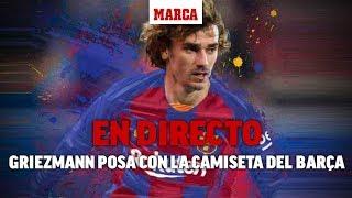 Sesión fotográfica de Griezmann en la tienda del Barça, en directo