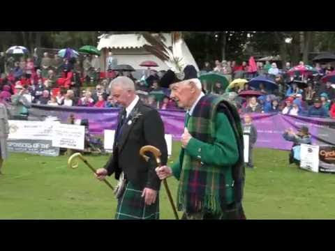 2016 Ballater Highland Games with massed bands and Clan Chief Captain Alwyne Farquharson