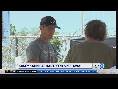 Former NASCAR Sprint Cup driver Kasey Kahne visited Hartford Speedway as the World of Outlaws series returns to West Michigan. (July 12, 2019) - dirt track racing video image