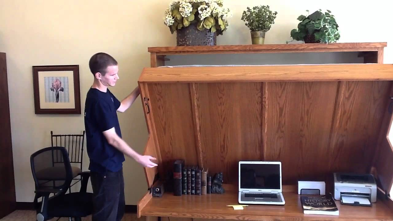 disappearing desk bed - wilding wallbeds - youtube