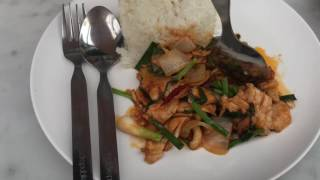 Fried Rice Green Curry Paste With Chicken And Stir Fried Chicken With Cashew Nuts