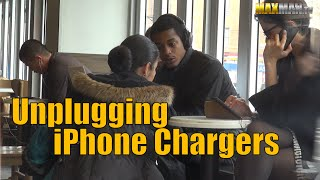 Coffee Shop Prank - Rude Girl Unplugs Chargers