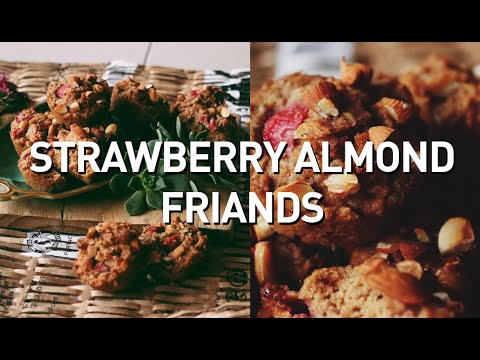 STRAWBERRY ALMOND FRIANDS // VEGAN + OIL FREE + REFINED SUGAR FREE