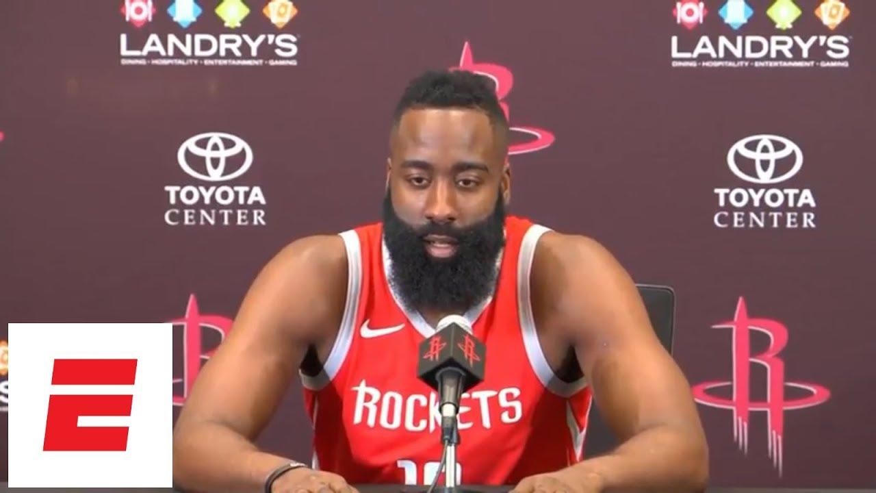 [FULL] James Harden on Carmelo Anthony: 'He's like a little kid again'   NBA Media Da