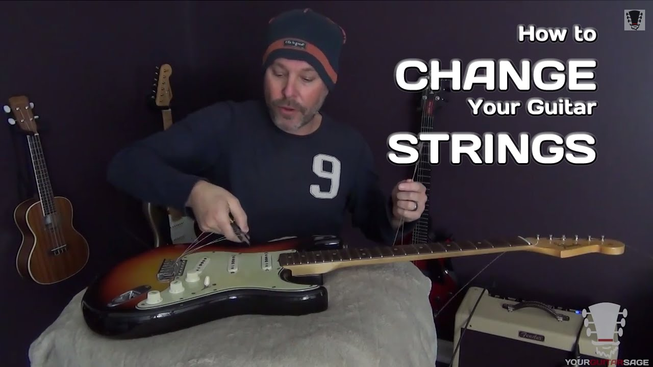 changing strings on a fender stratocaster electric guitar youtube. Black Bedroom Furniture Sets. Home Design Ideas