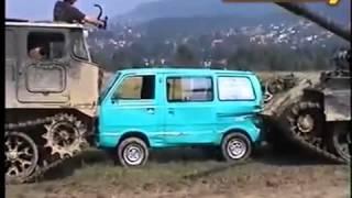 Лучшие краш тесты, танк против автомобиля