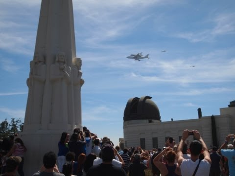 Space Shuttle Endeavour Flies over Hollywood Sign and Griffith Observatory in Los Angeles