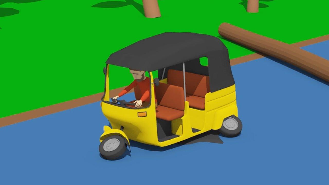 The Rickshaw Crash - Truck and Unsecured Wood Cargo   Yellow Tuk Tuk at the Mechanic's / Bazylland