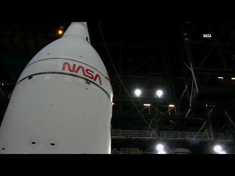 NASA stacks rocket, spacecraft for moon mission