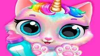 Видео про милого котенка единорога в детской игре. Смешная еда и наряды для кошки-единорожки